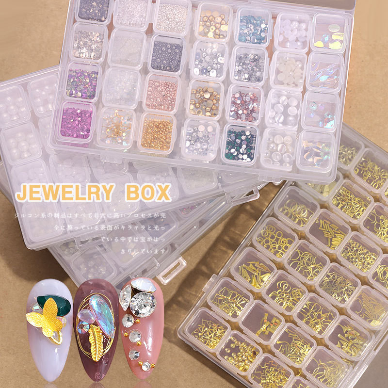 28 Boxes Multi-size Nail Rhinestones 3D Crystal AB Clear Nail Stones Gems Pearl DIY Nail Art Decorations Golden Rivet Rhinestone