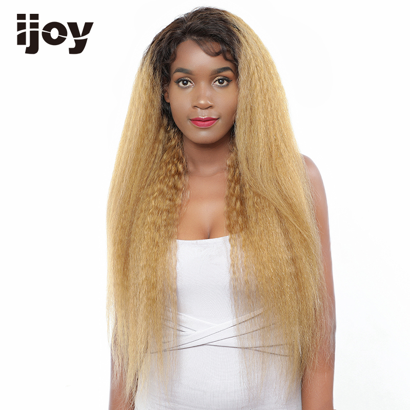 Kinky Straight Colored Wig Ombre 27 Honey Blonde 4x13 Lace Front Brazilian Human Hair Wig 10