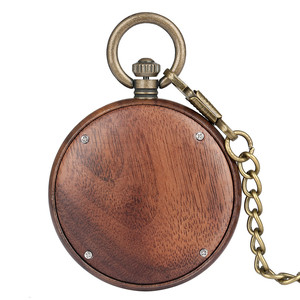 Image 2 - New Fashion 2019 Wooden Pocket Watch Full Wood Case Quartz Movement Antique Bronze Pendant Necklace Chains Gifts Men Women