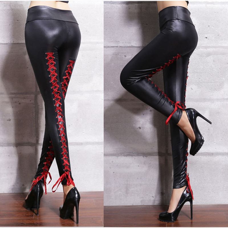 Women Sexy Lace Bandages Leather Pants Black PVC Leggings Goth Fetish Pu Faux Leather Skinny Pants Punk Rock Wet Look Club Wear