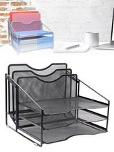 Mesh Desk Manager Folder Shelf, Desktop Document Letter Tray For Folders, Mail, Stationery, Desk Accessories