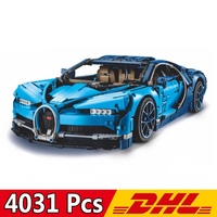 DHL 20086 4031Pcs Technic Car Series Supercar Bugatti Chiron Model Building Blocks Compatible Legoings 42083 Toys Bricks