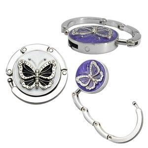 Fashion Originality Lovely Color Butterfly Design Handbag Folding Bag Purse Hook Hanger Holder for gift Beetle Lock Bling