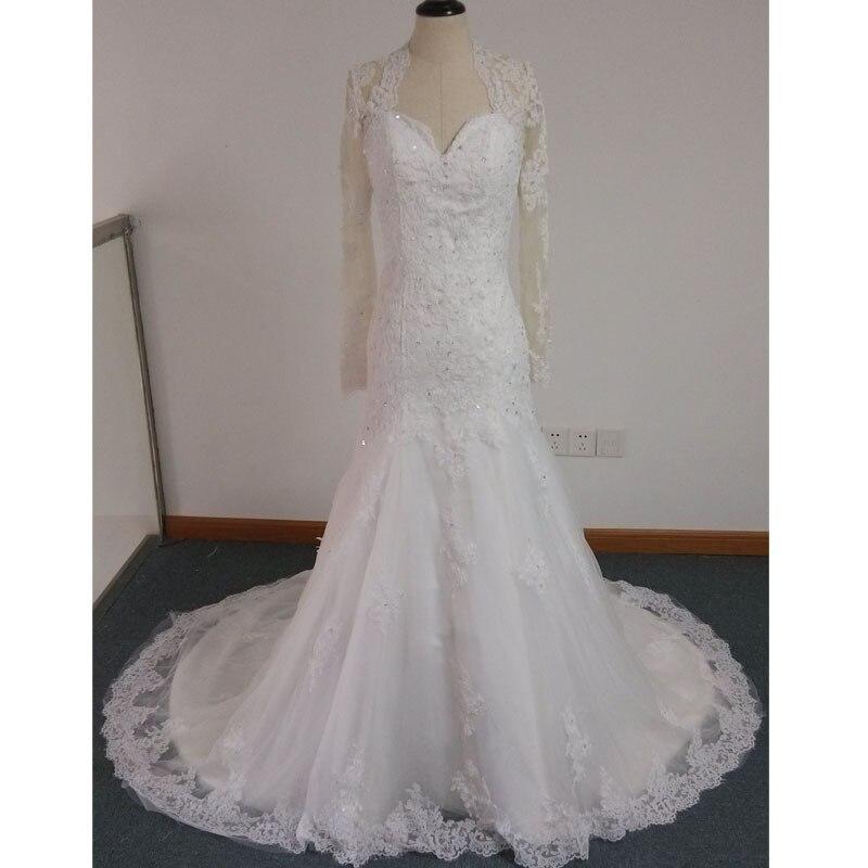 Real Photos Lace Mermaid Wedding Dress 2016 New Fashion Sexy Backless Sweetheart Appliques Long Sleeve Beading Vestido De Noiva