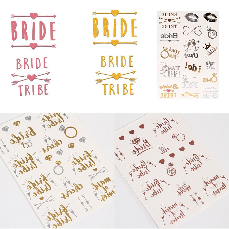 4x4cm Metallic Rose Gold Temporary Tattoo Sticker Bridal Team Bridesmaid Hen Night Bachelorette Party Wedding Decor Supplies