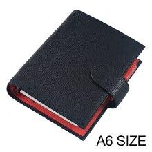 Echtem Leder Notebook A6 Größe Planer Litschi Korn Veranstalter Ringe Bindemittel Abdeckung Tagebuch Journal Sketch Agenda Große Tasche