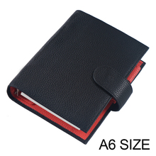 Genuine Leather Notebook A6 Size Planner Litchi Grain Organiser Rings Binder Cover Diary Journal Sketchbook Agenda Big Pocket