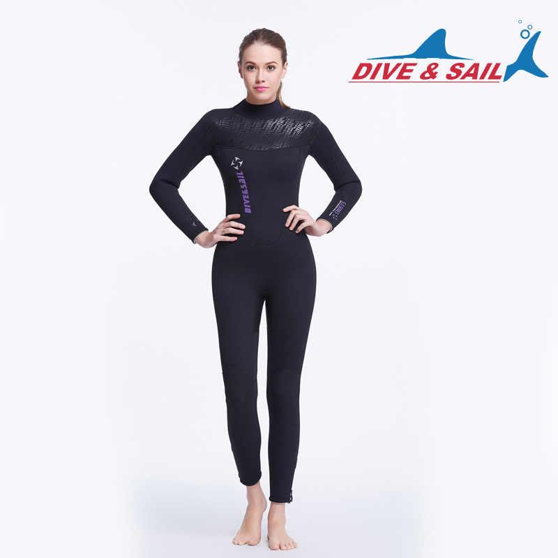 DIVE & SAIL kadın tam vücut 5MM neopren SCR tüplü dalış giysisi polar astar dalış takım elbise kış yüzme sörf şnorkel