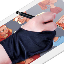 Two Finger Tablet Stylus Pen Gloves Drawing Anti-Touch Sweat-Proof Anti-Fouling Unisex Painting Glove For Touch Pen