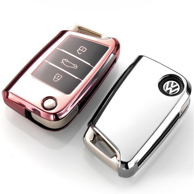 Новинка Мягкий ТПУ чехол для автомобильного ключа чехол для Volkswagen VW Golf 7 mk7 Seat Ibiza Leon FR 2 Altea Aztec для Skoda Octavia