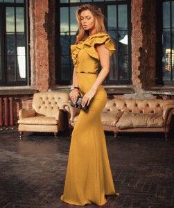 Image 2 - Kadınlar uzun Maxi elbise Mermaid Ruffles akşam parti elbise zarif sarı yeşil kadın sonbahar elbise Vestido de Fiesta elbise MC 2870