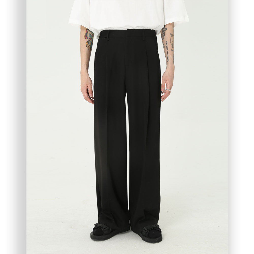 Homens vintage moda streetwear solto casual terno reto calça masculina japão coréia estilo calças
