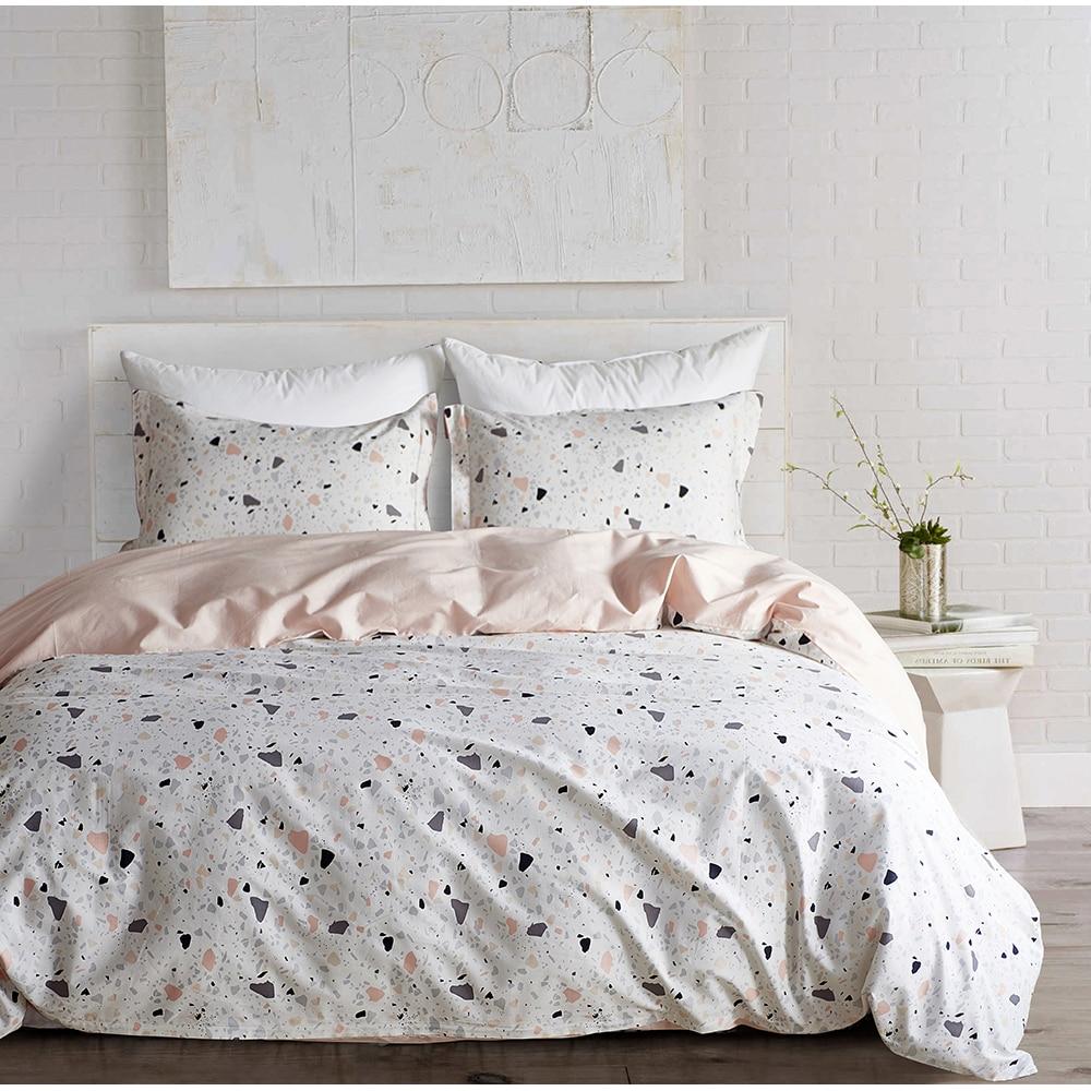 Yimeis parure de lit coton confortable linge de lit literie moderne draps et taies d'oreiller BE47109