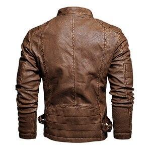 Image 5 - Мужская кожаная куртка в стиле милитари, модная винтажная куртка бомбер с воротником стойкой, весна 2019