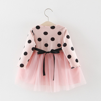 Girl's Polka Dot Dress with Daisy Appliques 4