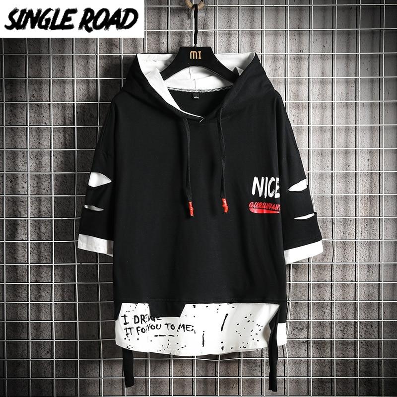SingleRoad Men's Hoodies Ripped Summer Patchwork Ribbon Sweatshirt Male Hip Hop Harajuku Japanese Streetwear Black Hoodie Men