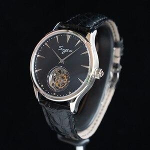 Image 2 - פשוט גברים אמיתי Tourbillon שעון אמיתי תנין עור עסקי רצועת Mens מכאני יד שעונים ST8000 יד רוח