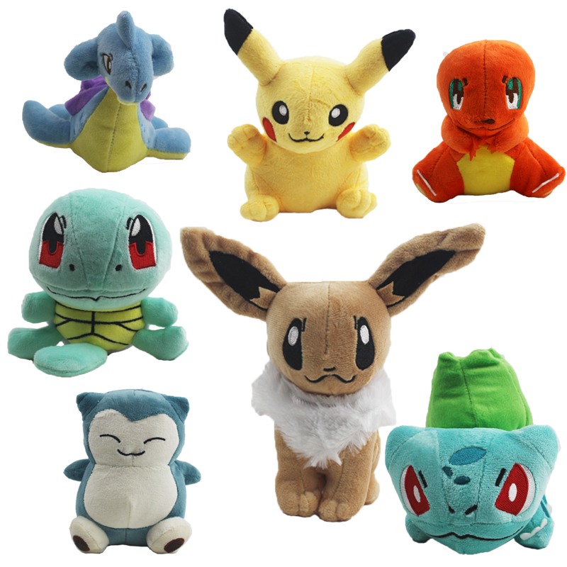 7 Styles 12-15cm Pikachu Plush Toy Lapras Charmander Snorlax Bulbasaur Squirtle Eevee Soft Stuffed Toy Doll For Kids Gift