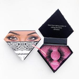 Haga su propia marca de embalaje de pestañas personalizado con su logotipo caja de pestañas de lujo etiqueta privada personalizada diamante Mink Lash Case