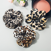 New Fabric Leopard Scrunchies Large Intestine Hair Ring Chiffon Printing Elastic Rubber Band Hair Ring Rope Tie for Fashion Lady wild hair band female striped wild color large intestine ring elastic band hair ring hair rope hair accessories coconut tree