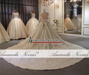Image 2 - أنيق كامل الديكور الجسم كم طويل الدانتيل فستان الزفاف أخف لون الشمبانيا يمكن أن تجعل العاج