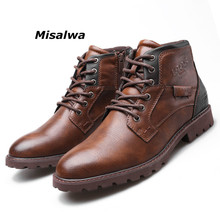 Misalwa Top Quality British Men Boots Original Lace-Up Solid Leather Basic Winter Botas Fashion Mens Big Size 39-48