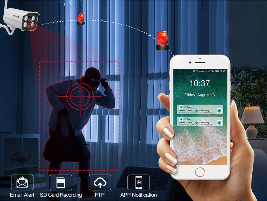 Hd4d25b2881ac47eabd54b3c7dba9dedbW Techege HD 1080P Wireless SD Card Slot Audio IP Camera 2.0MP wifi Security Camera Night Vision Metal Waterproof Outdoor Camera
