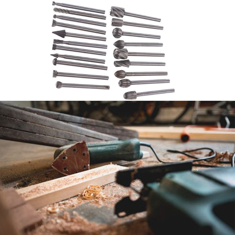 20pcs 20pcs  Solid  Carbide Burr Set 3mm/0.118'' Shank Tungsten Carbide Rotary Files Burrs With 3mm Cutting Head Diameter Fits