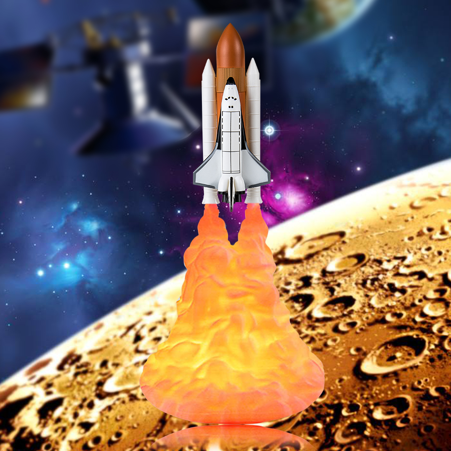 Dropshipping 3D Print Space Shuttle Lamp Rocket Night Light Lights for Space Lover Indoor Home Desk Table Moon Night Lamp Decor