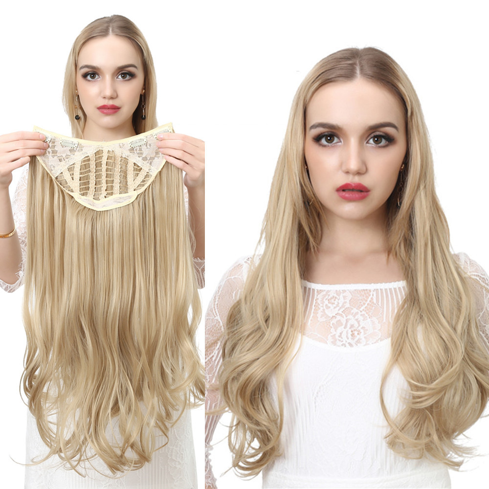 Wigs Hair-Extension Synthetic-Wig Natural-Hairpieces U-Part Clip-In Long-Blonde Wavy