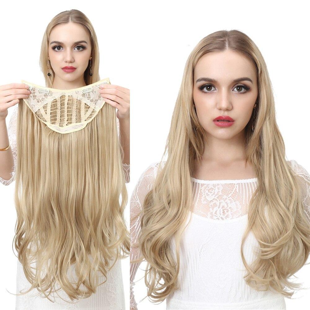Волнистые U части парики для Для женщин клип в наращивание волос Невидимый половину накладные синтетические волосы парик длинные светлые ч...