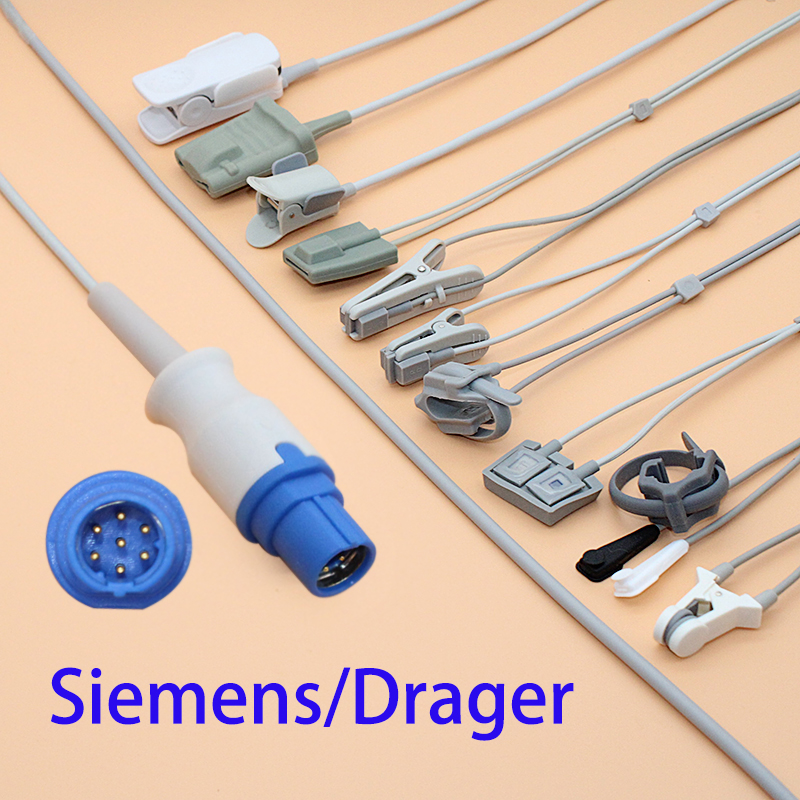 Siemens/Drager Blood Oxygen Monitor,adult/pediatric/child/Neonate/veterinary,Finger/Ear/Foot/Forehead Spo2 Sensor Cable