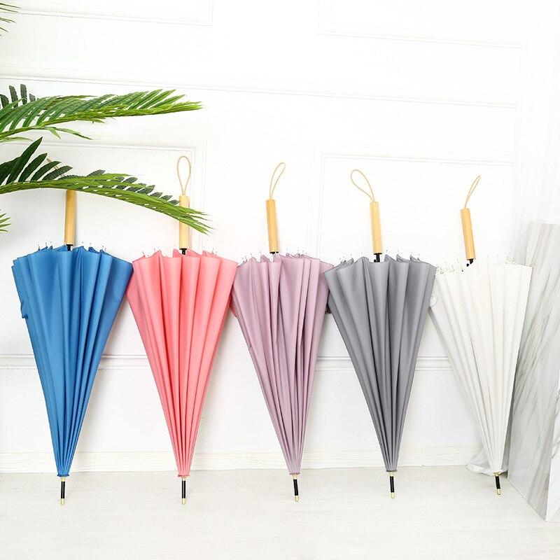 Long Handle 16 Bone Umbrella Self-opening Umbrella Reinforced MORI Series Hipster Wooden Handle All-Weather Umbrella Printed Log