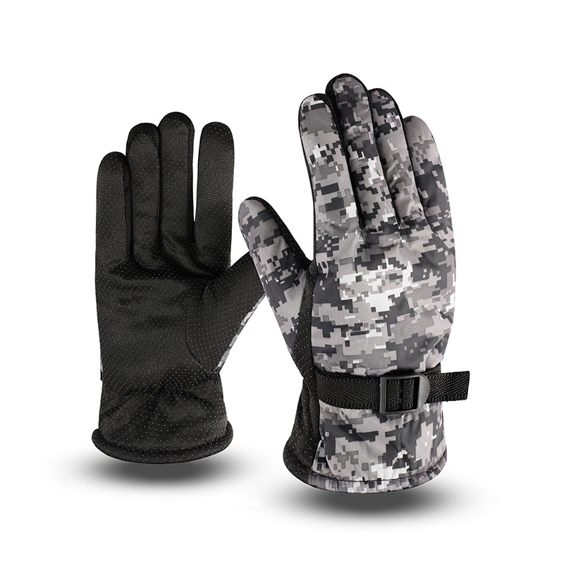 Winter Men's Camouflage Warm Cotton Gloves Outdoor Non-slip Electric Motorcycle Riding Cycling Windproof Plus Velvet Gloves