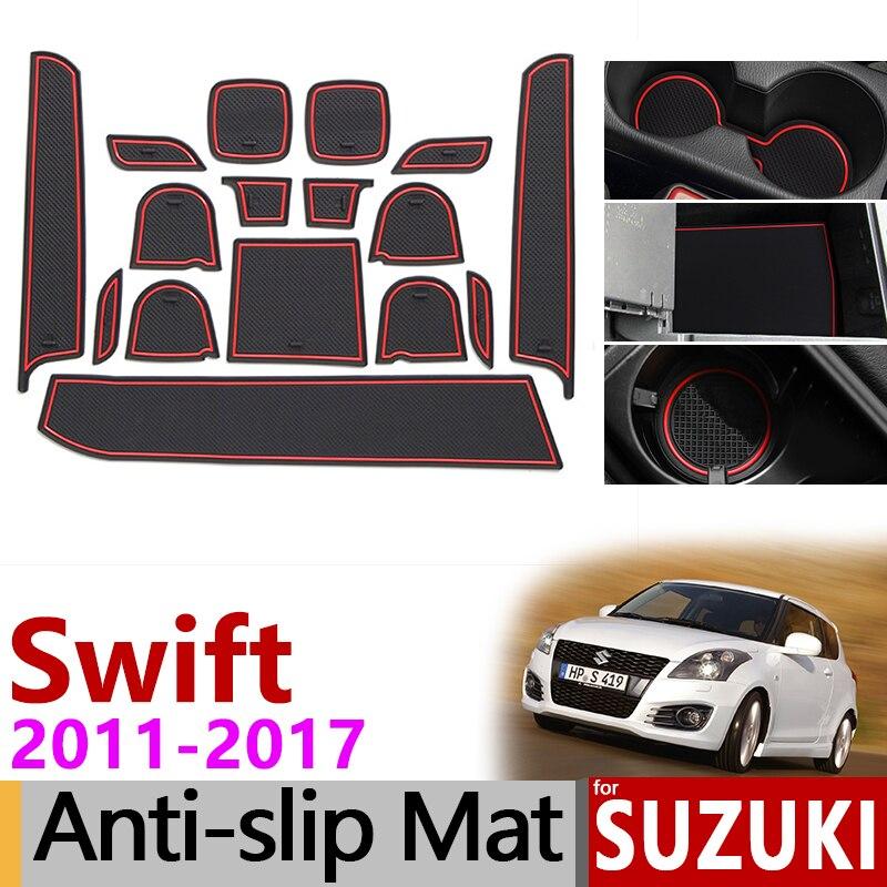 Anti-Slip Mat For Phone Gate Slot Mats For Suzuki Swift 2011~2017 Accessories Stickers Maruti DZire Sport ZC72S ZC82S ZC32S 2014