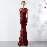 Wine Red Tassel Chinese Wedding Dress Elegant Qipao Long Evening Dresses China Oriental Style Party Prom Gown Princess Clothes