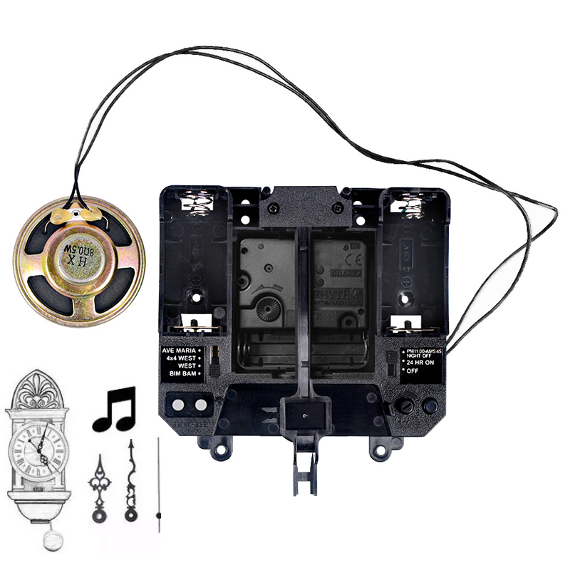 Rythme Silence mouvement musique carillon boîte plastique Quartz mécanisme mains pendule unités d'entraînement horloge à faire soi-même Kits d'accessoires