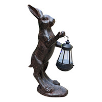 European Retro Animal Ornaments Rabbit lantern Statue Cute Children's Gifts Resin Craft Home Decor Solar Lamp A1481