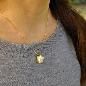 Image 4 - Colgante de joyería fina con diseño de ángulos geométricos para mujer, Lotus Fun, estilo norte europeo, sin collar, Plata de Ley 925 auténtica