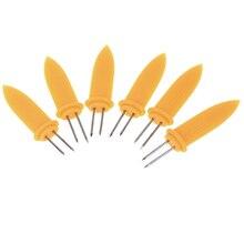 6 шт. кукуруза на Cob держатели вечерние аксессуары для кухни из нержавеющей стали барбекю щипцы шампуры вилки кухонный инструмент