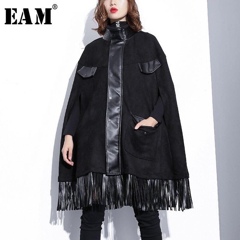 [EAM] 2020 New Spring High Collar Long Sleeve Black Pu Leather Tassels Spit Joint Cloak Jacket Women Coat Fashion JI281