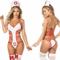 Mulheres Sexy Lingerie Sling Pijamas Uniforme Da Enfermeira Tentação Bandagem Underwear Lenceria Sexy lingerie sexe porno transparente
