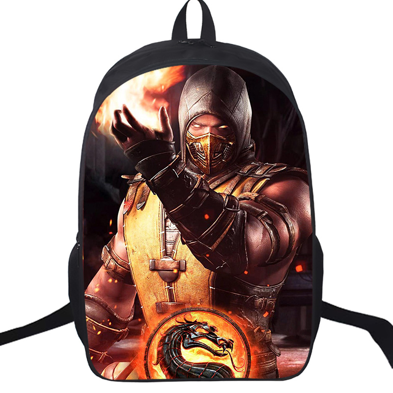 Scorpion In Mortal Kombat X Mask School Bags 16 Inch Students Boys Girls School Backpack Children Travel Rucksack Gift