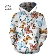 PLstar Cosmos Butterfly Animal colorful 3D Printed Hoodie/Sweatshirt/Jacket/shirts Mens Womens  Harajuku casual hiphop style-1