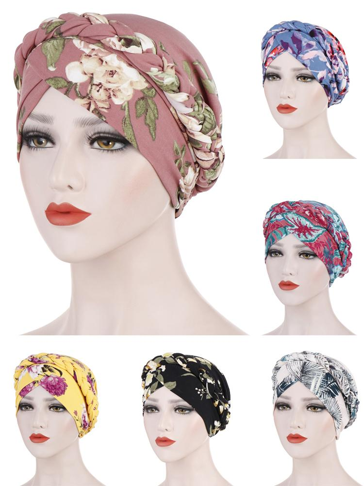 Flower Print Muslim Turban Scarf For Women Islamic Inner Hijab Caps Arab Wrap Braid Hat Head Bonnet Beanie Covers Femme Musulman
