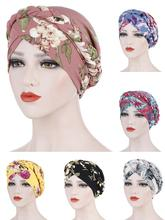 Muslim Women Braid Printed Elastic Turban Hat Chemo Cancer Cap Arab Head Scarf Wrap Cover Headscarf Islamic Bandanas Accessories