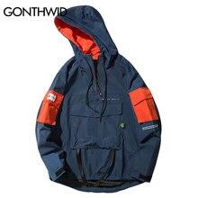 GONTHWID Front Pocket Pullover Jackets Men 2020 Autumn Half Zipper Hoodie Jacket Male Hip Hop Casual Windbreaker Coat Streetwear