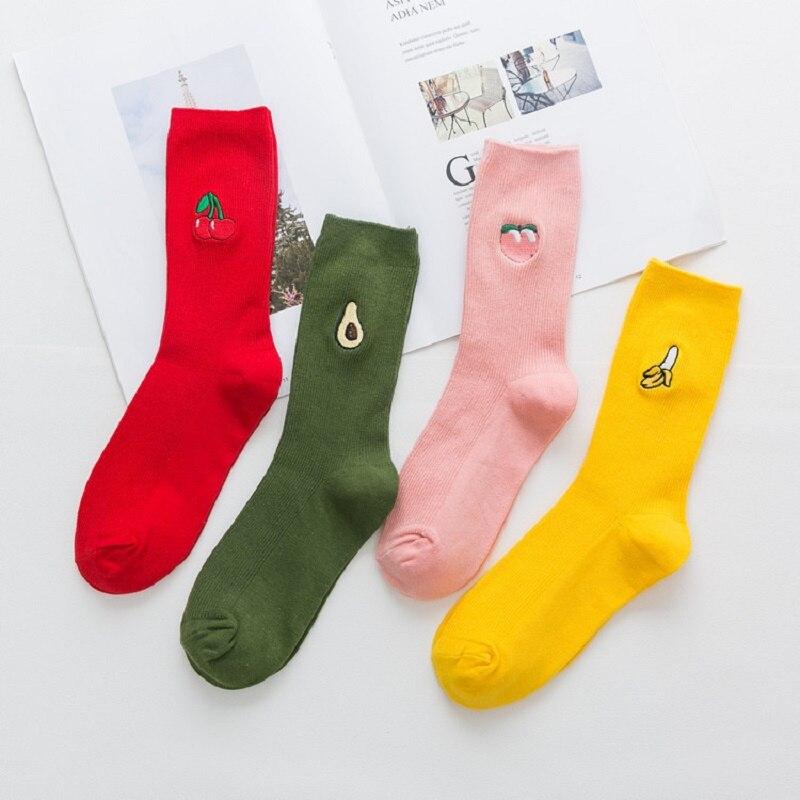 Hot Style Fruit Sock Peach Banana Cherry Embroidery Pile Socks Cotton Socks Avocado American Tide Socks
