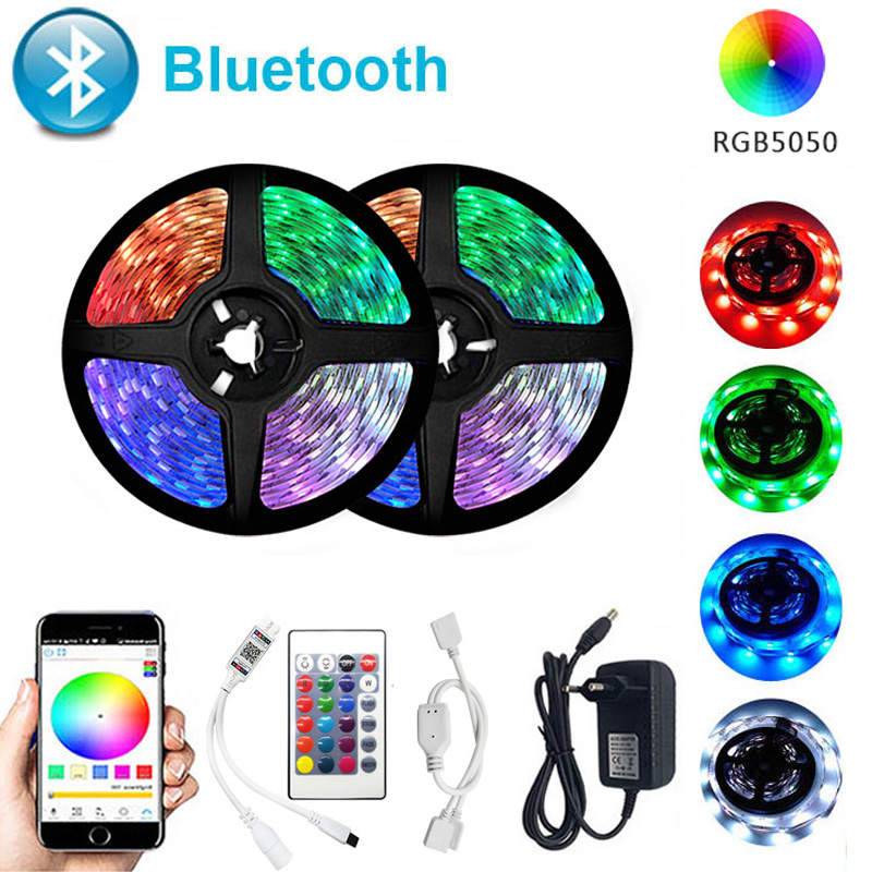 Bluetooth LED Strip Lights 20M RGB 5050 SMD Flexible Ribbon Waterproof RGB LED Light 5M 10M 15M Tape Diode 12V Bluetooth Control