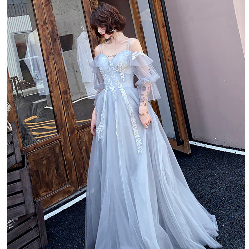 Vestido De Noiva Autumn Evening Dress 2020 Women's Long Banquet Fairy Student Dream Temperament Celebrity French Small Skirt